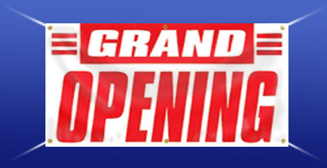 Pre Printed Stock Banners Grand Opening Now Hiring Or New - Vinyl business banners